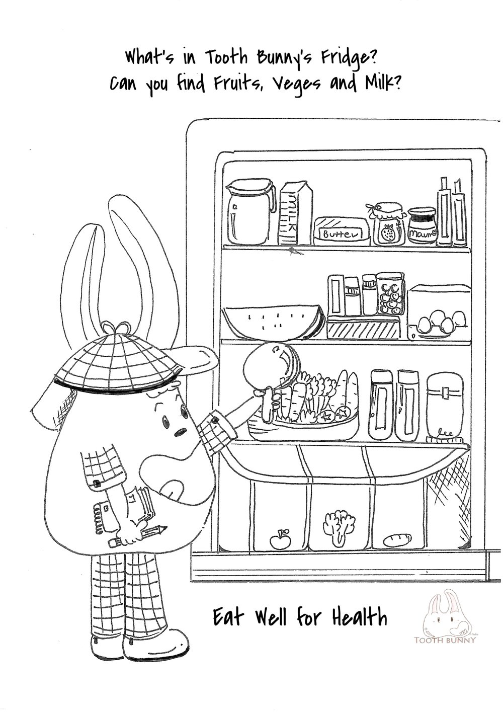 Colour In and Find Fruits, Veges and Milk in Tooth Bunny's Fridge