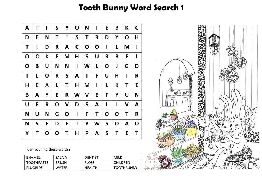 Tooth Bunny Word Search - Words Relating to Good Healthy Teeth