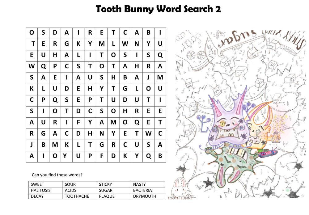 Tooth Bunny Word Search - Words Relating to Tooth Decay