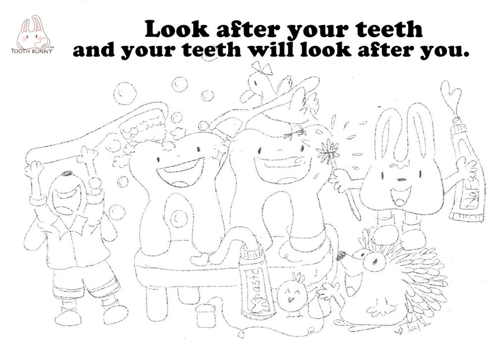 Colour In Tooth Bunny Helps Look After Teeth