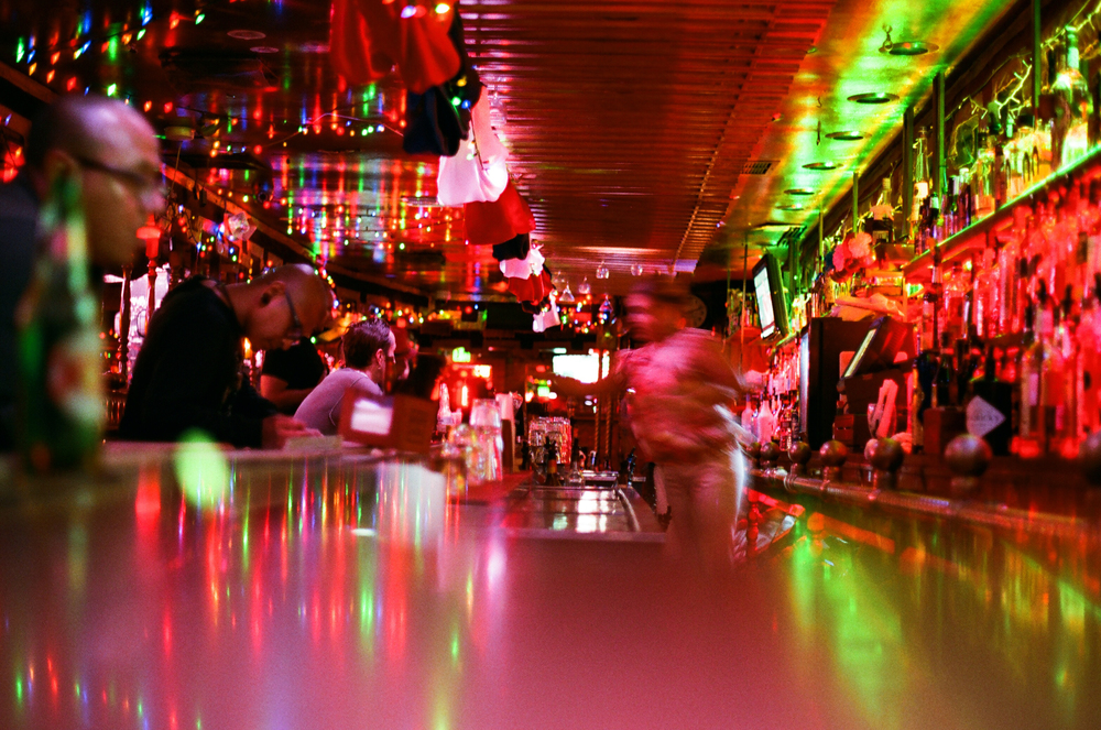Indoor bar. La Cita. LA's greatest dive bar, a microcosm of Los Angeles with stiff drinks and great music. 35mm.