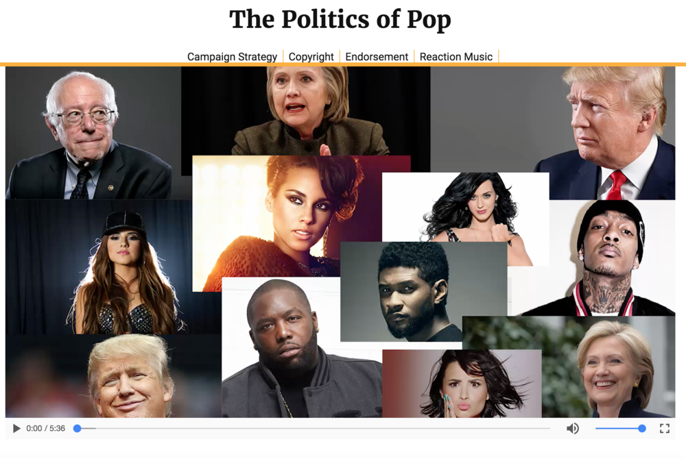Final project for my journalism grad school summer immersion program. A multimedia piece  on music and its influence in this year's election   that includes a coded website, a text piece, a mini documentary, and sound bites.