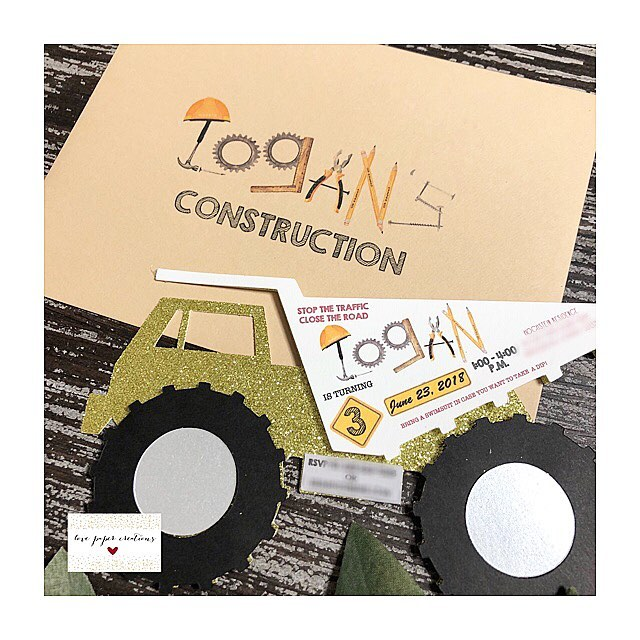 Obsessed is an understatement! In love how this invitation came out! Happy birthday to this cutie!! I hope you had an amazing day Logan!! 🚜🚜 @lisahochstein @monicapardoevents #lovepapercreations #love #construction #invitation #handmadewithlove #obsessed #truck