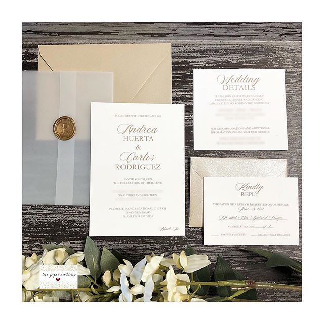 Beautiful, elegant and simple invitation done for a beautiful client!! Thank you Andrea and Carlos for letting me be part of your special day! 😘😘🤗💕 #lovepapercreations #love #wedding #invitation #beautiful #elegant #simplicityindesign #waxseal #custom