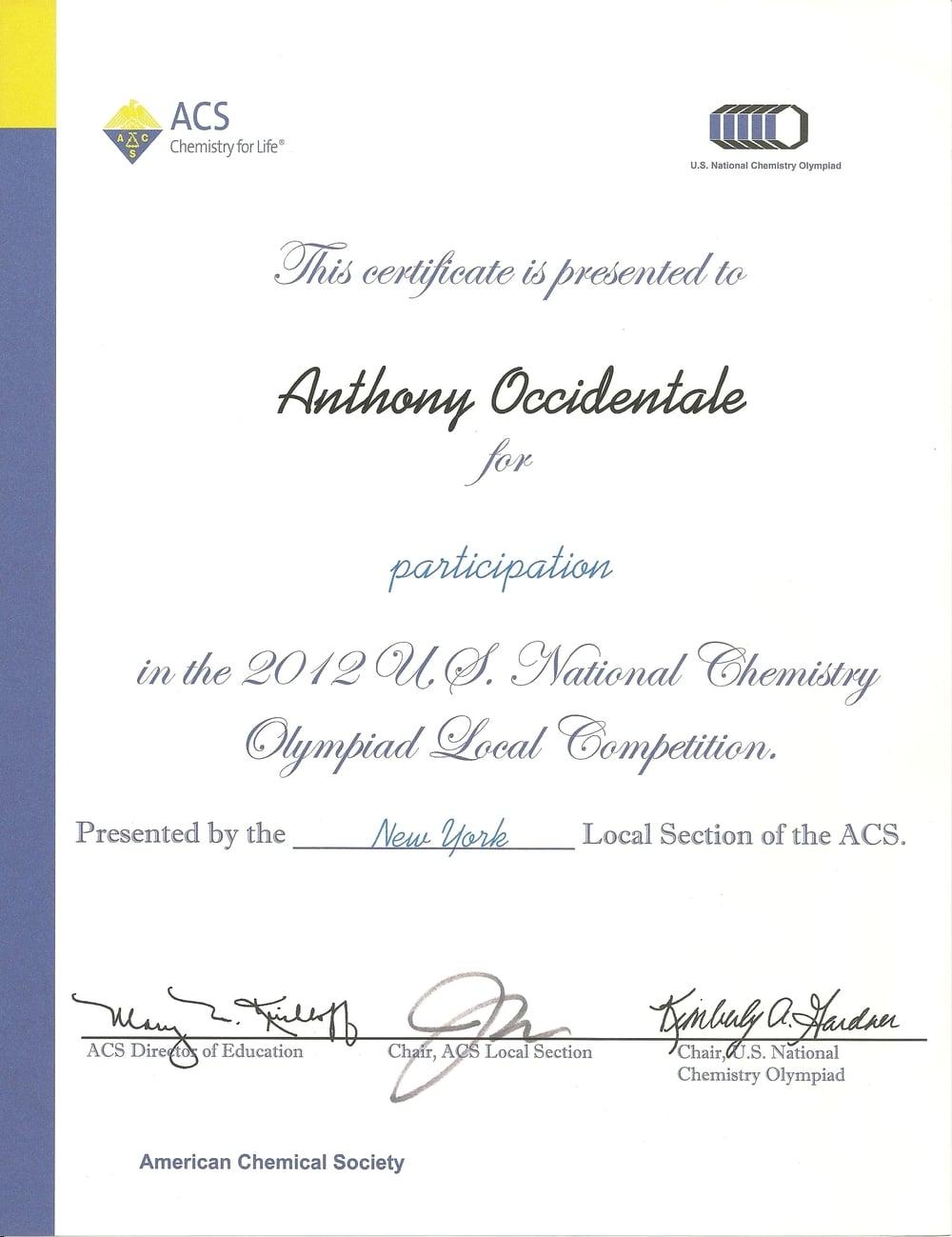 2012 US National Chemistry Olympiad