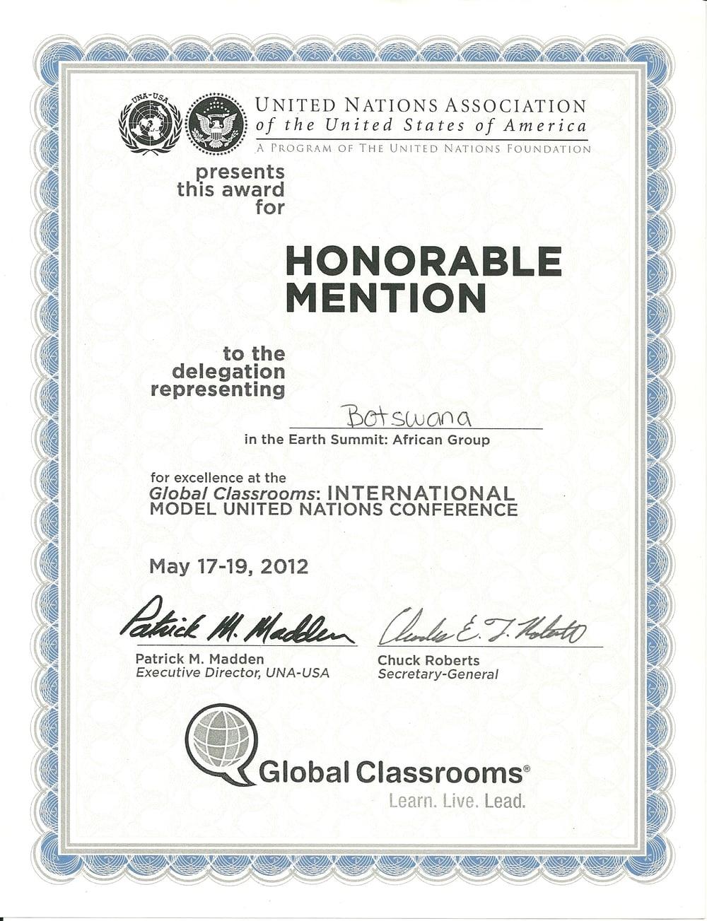 Global Classrooms International Model United Nations