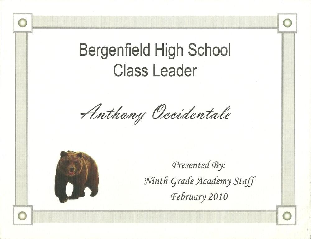 9th Grade Class Leader Award