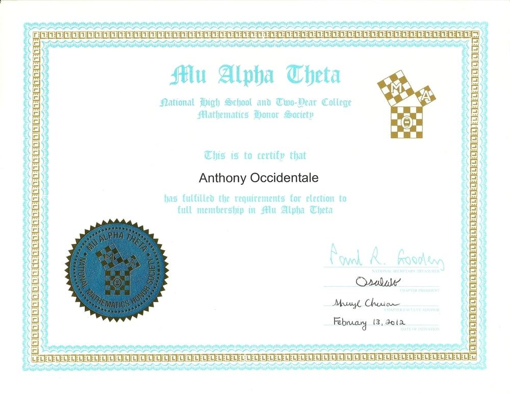 Mu Alpha Theta (Math Honor Society)
