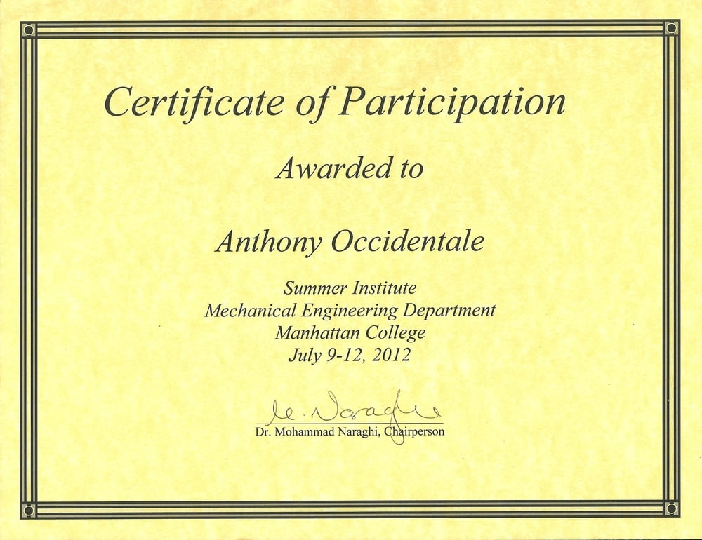 Manhattan College Mechanical Engineering Summer Institute Participation
