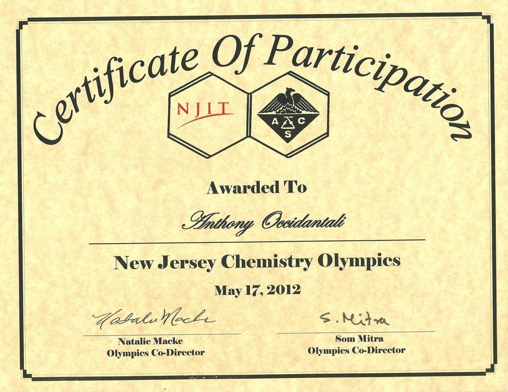 New Jersey Chemistry Olympics Participation Award