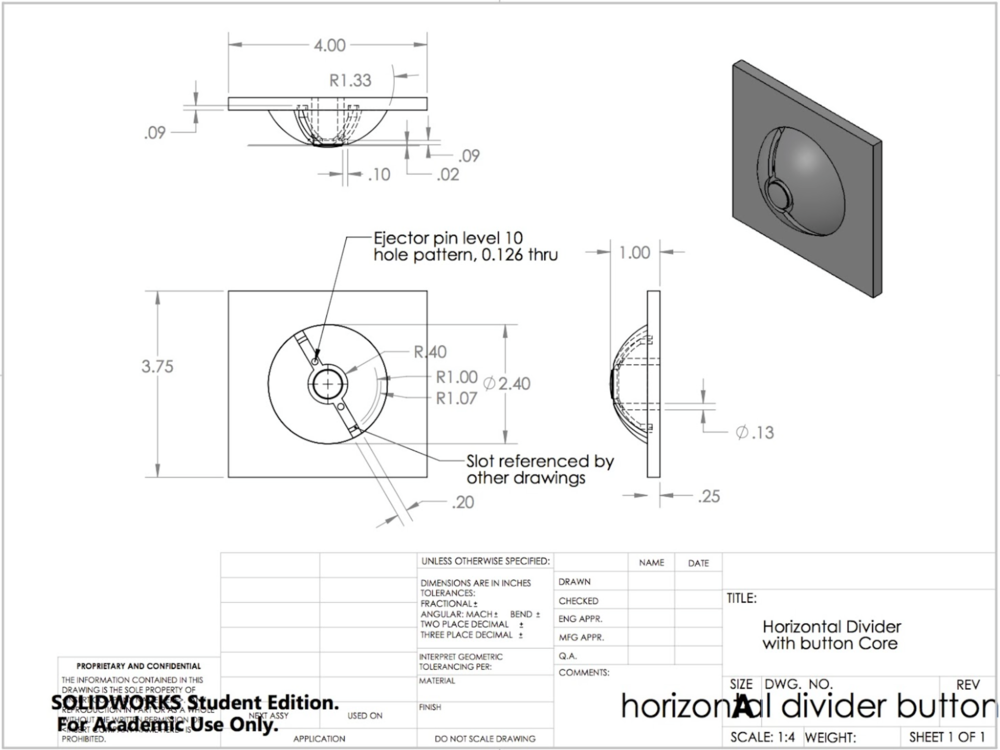 Horizontal Divider with Button Dimension