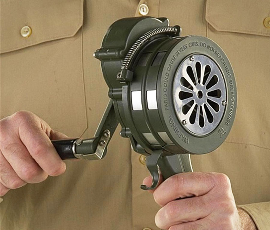 Handheld crank operated Air Raid Siren