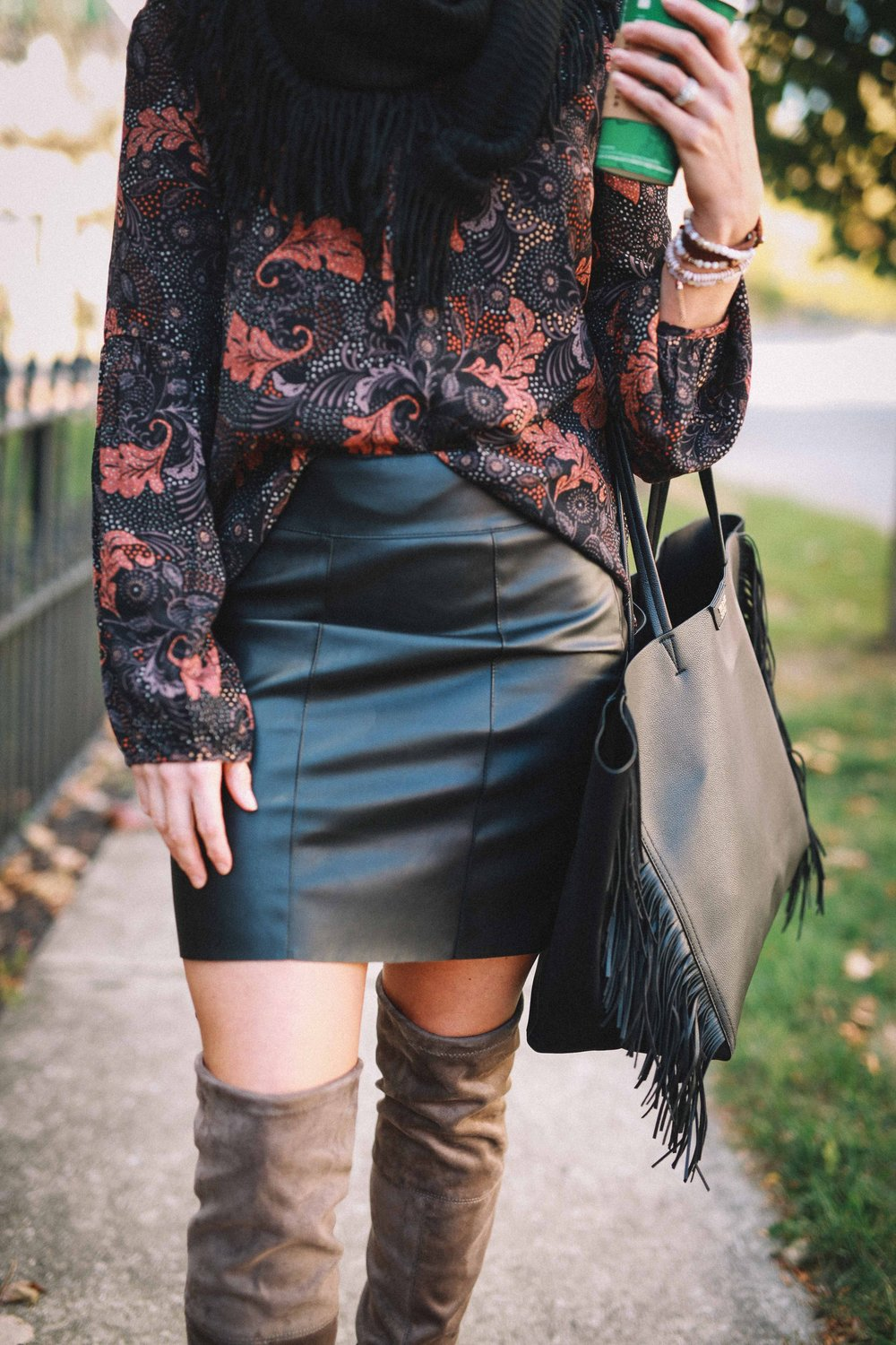 Faux Leather Skirt  HERE  // Top  HERE  // Shawl  HERE  // Bag  HERE  //  HERE
