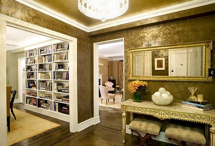 Gold Damask wall stencil on Venetian plaster with Gilded ceiling .png