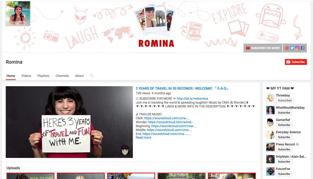 The rebranded youtube.com/redRomina