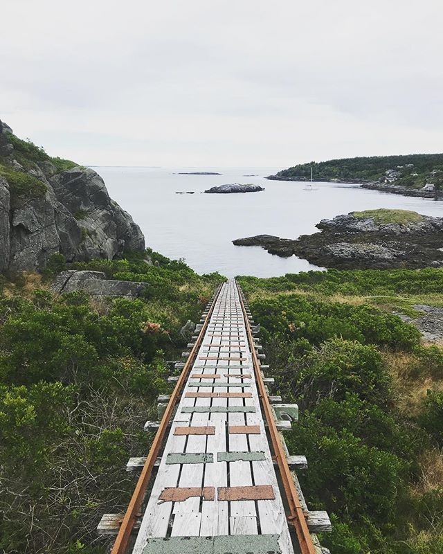 Stairway (railway) to heaven, basically. Maine continues to amaze me. I mean you could fly to Iceland or New Zealand and see some similar sights.  Or you could drive up the coast and be a tourist in your own freakin' state.  #monheganisland #maine #mananaisland #mainecoast #island #ocean