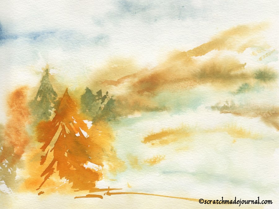 watercolor landscape with pines - scratchmadejournal.com