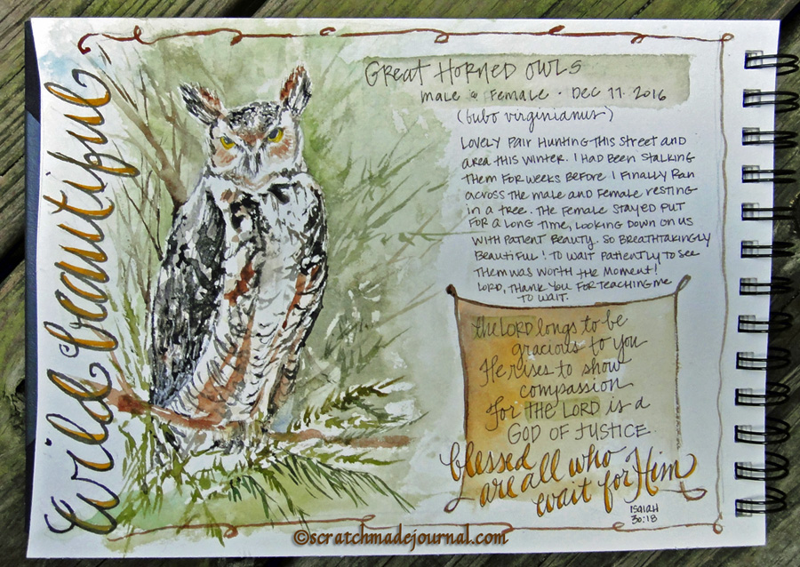 great horned owl - scratchmadejournal.com