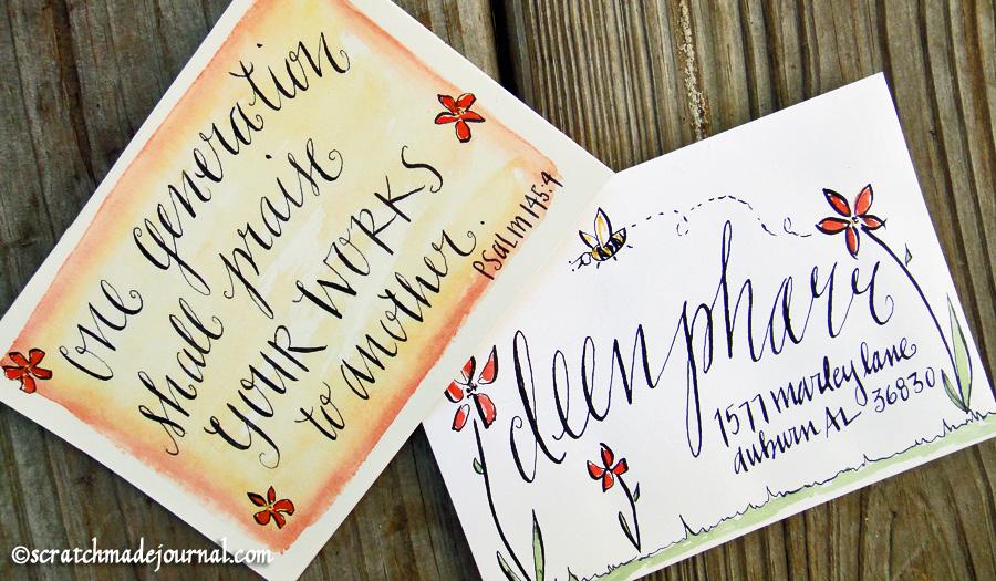 Psalm 145:4 lettering card envelope - scratchmadejournal.com
