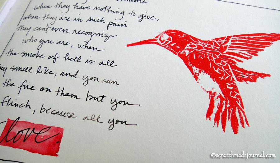 hummingbird stamp - scratchmadejournal.com
