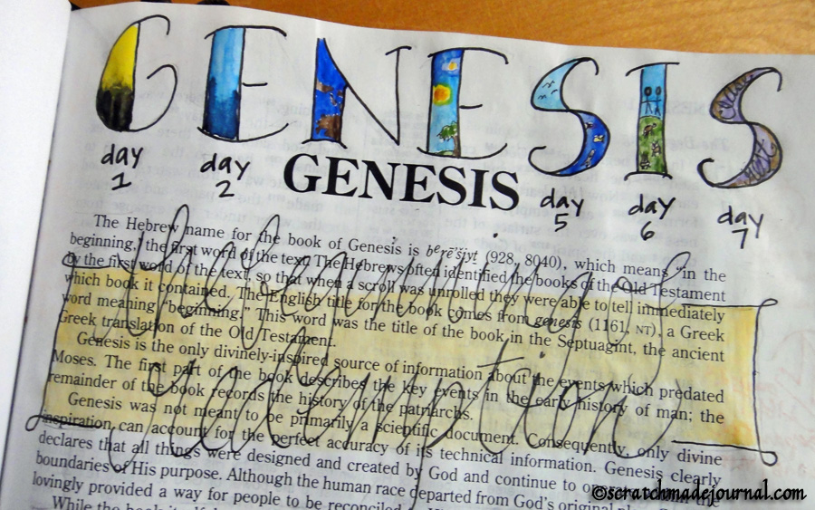 Genesis title in my Bible - scratchmadejournal.com