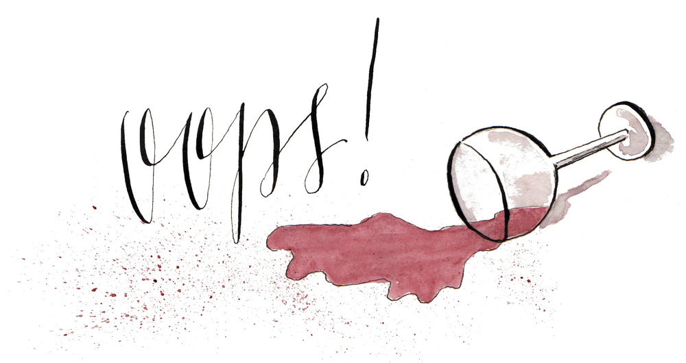oops spilt wine watercolor sketch - scratchmadejournal.com