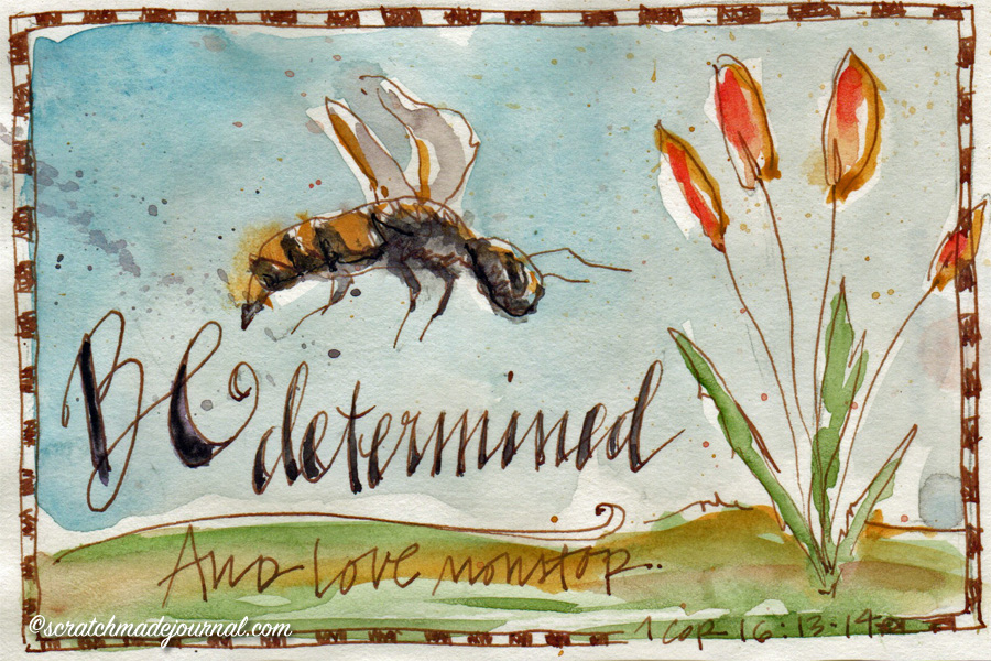 1 Corinthians 16.13-14 bee watercolor sketch - scratchmadejournal.com