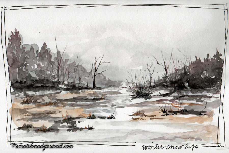 winter snow landscape watercolor - scratchmadejournal.com