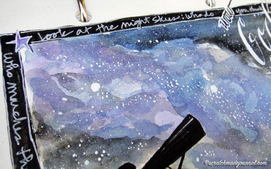 milky way illustration border - scratchmadejournal.com
