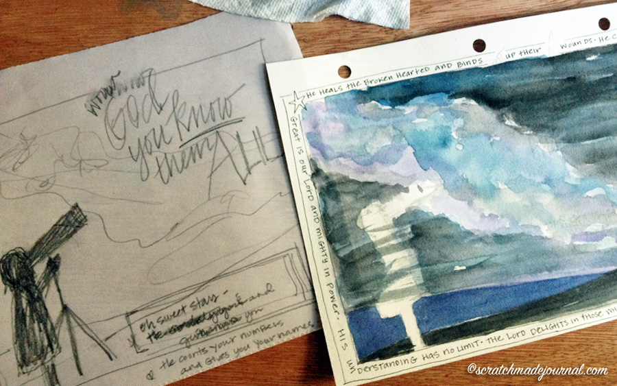Psalm 147 watercolor sketch in progress - scratchmadejournal.com