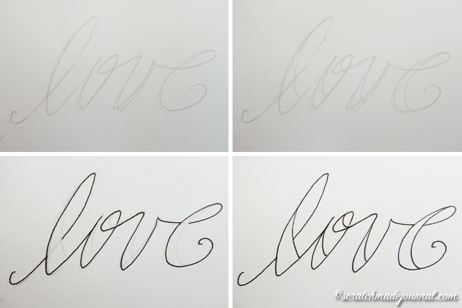Easy tutorial on fake calligraphy in 4 steps - scratchmadejournal.com