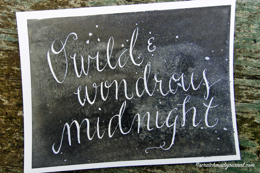 Night sky painting with midnight calligraphy quote - scratchmadejournal.com
