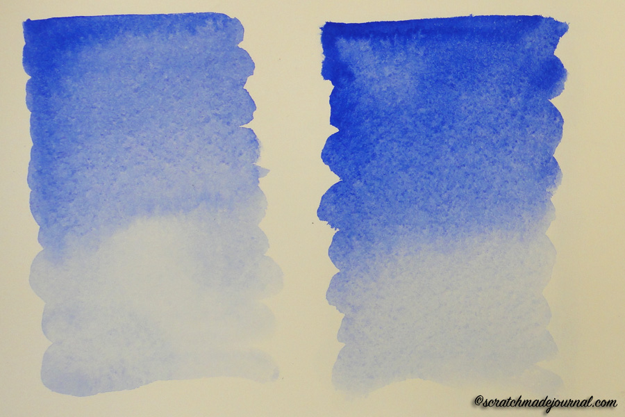 The wash on the left was done with the ultra round brush; the round was used on the right. (Ultramarine blue on Arches hot-pressed paper.)