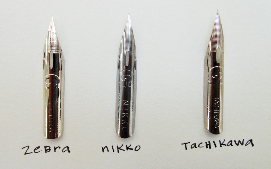 Comparing Nikko G vs Zebra G vs Tachikawa G nibs - scratchmadejournal.com