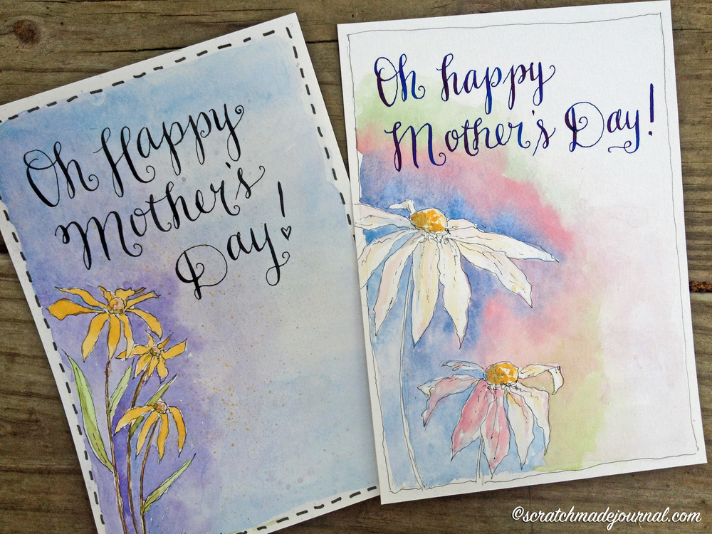 Mother's Day watercolor card printables - scratchmadejournal.com