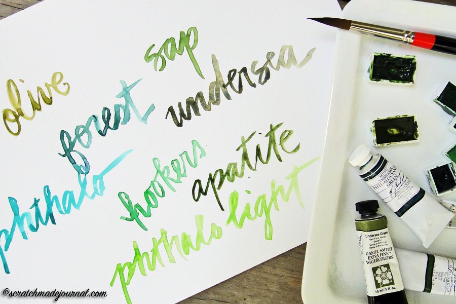 green watercolor comparision - scratchmadejournal.com