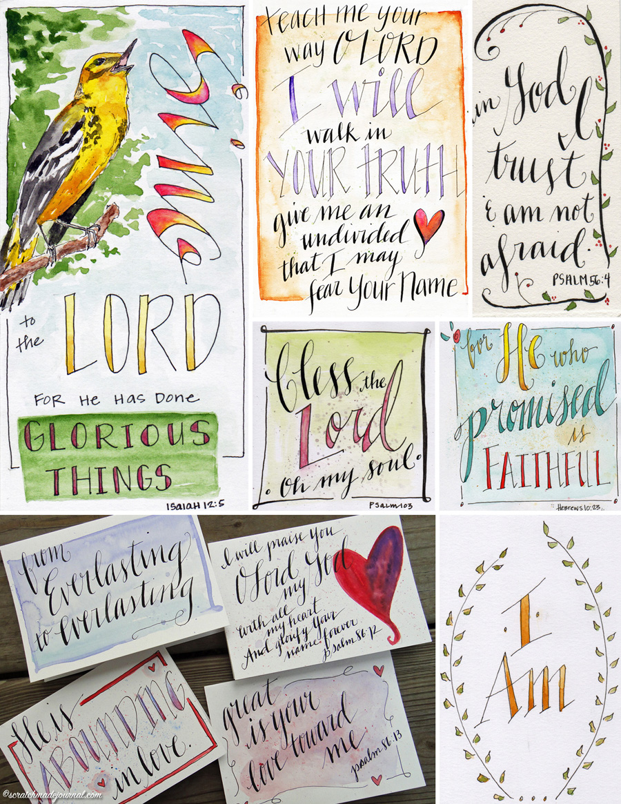 Bible lettering calligrapy and watercolor - scratchmadejournal.com