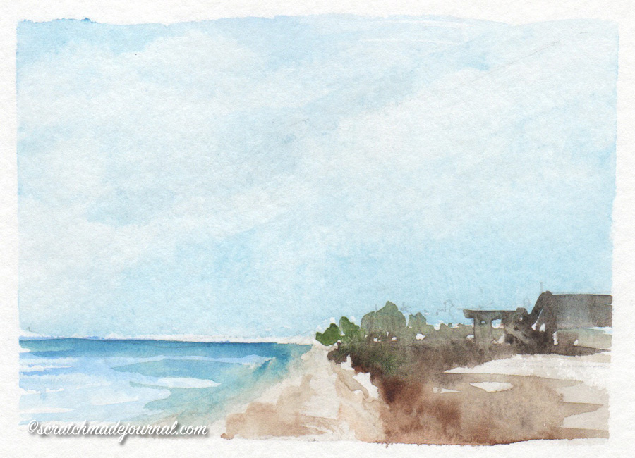 quick coastal watercolor sketch - scratchmadejournal.com