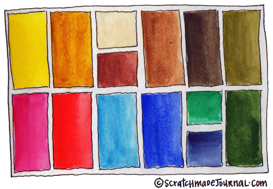 Close to perfect 14 color watercolor palette - scratchmadejournal.com
