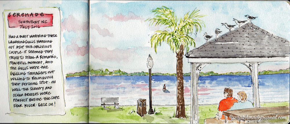 Southport NC waterfront watercolor & ink sketch - scratchmadejournal.com
