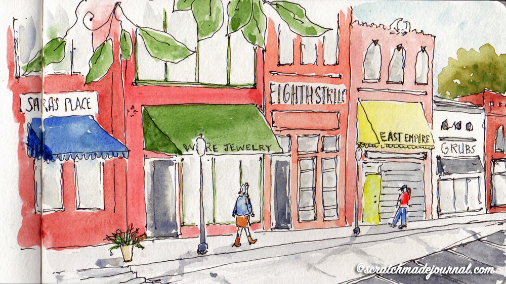 Opelika AL downtown urban sketch - scratchmadejournal.com