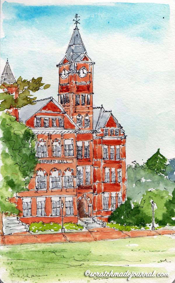 Auburn AL Samford Hall urban sketch - scratchmadejournal.com