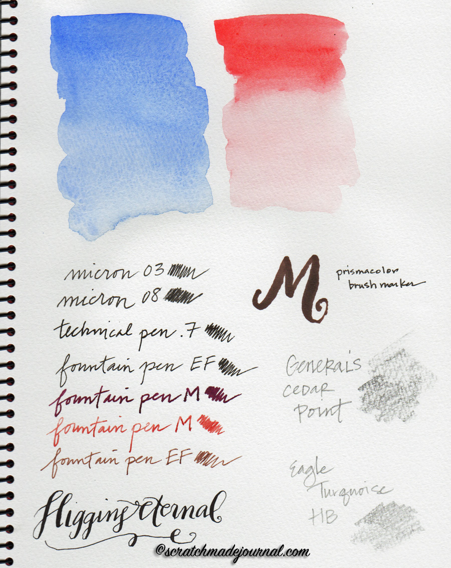 Pen ink & watercolor in the Holbein Multimedia Pad - ScratchmadeJournal.com