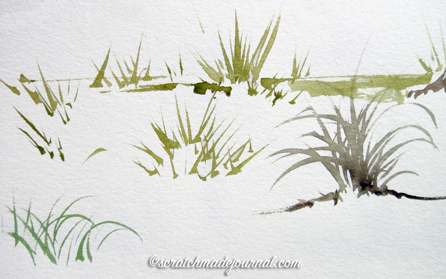 Grasses are easy with a rigger brush - scratchmadejournal.com