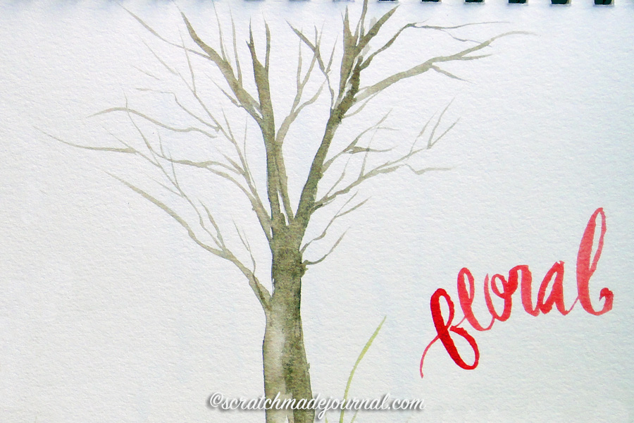 Using a rigger brush to make tree branches & lettering - scratchmadejournal.com