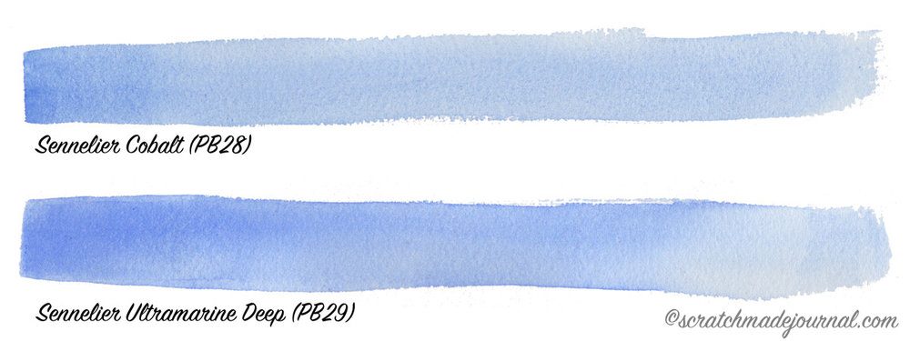 Sennelier cobalt vs ultramarine watercolor - scratchmadejournal.com