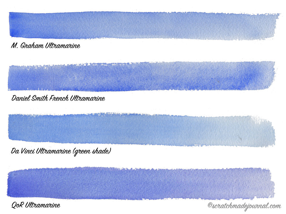 Ultramarine watercolor comparisons - scratchmadejournal.com