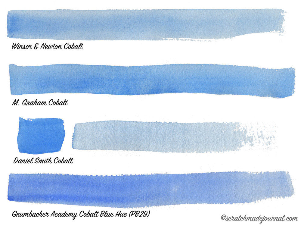 Cobalt watercolor comparisons - scratchmadejournal.com