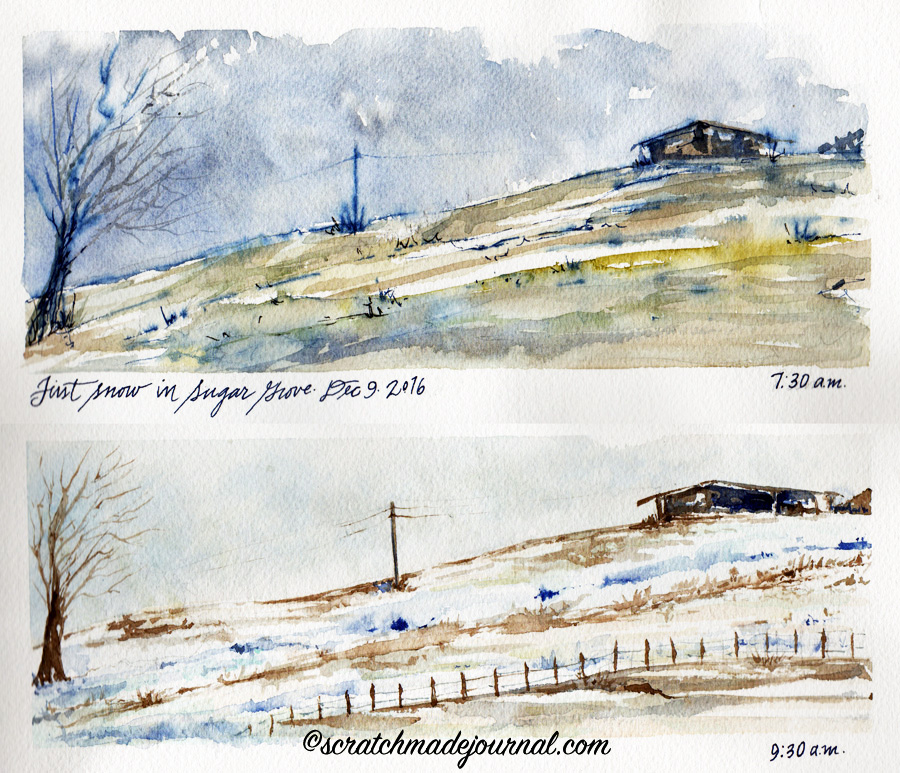 Comparing Blue Watercolors: Cobalt vs Ultramarine plus a watercolor of our first mountain snow ©scratchmadejournal.com