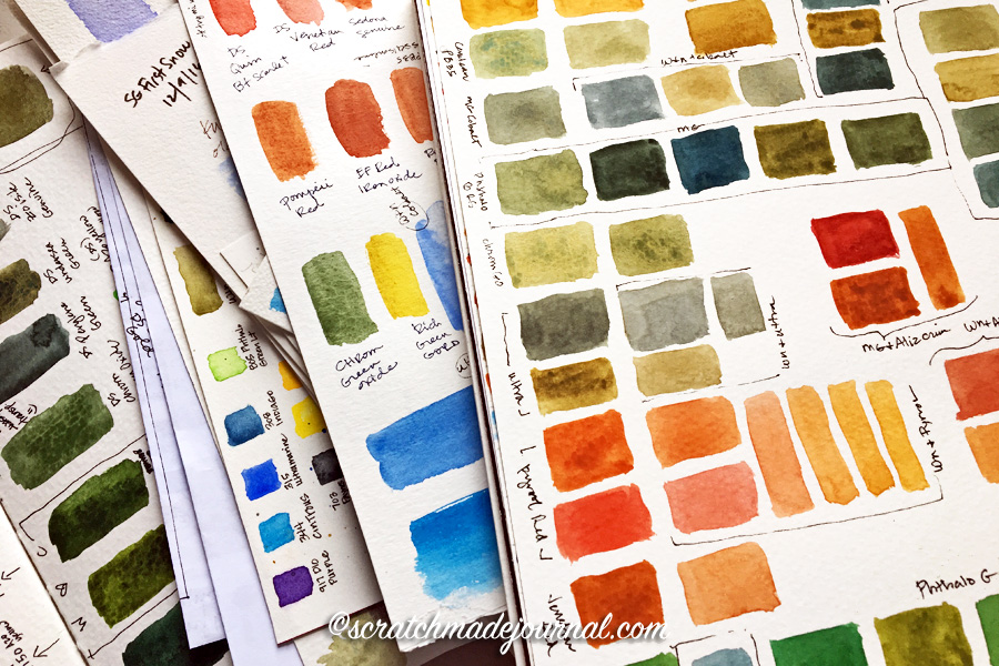 Tips for setting up & keeping a watercolor mixing sketchbook - scratchmadejournal.com